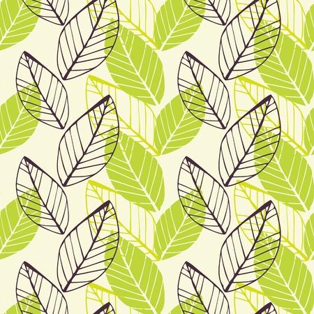 agosto: Vector background senza soluzione di continuit� con molla disegnato a mano foglie