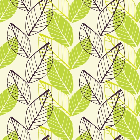 Vector seamless background with spring hand-drawn leafs