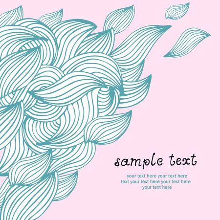 Floral leaf waves illustration on pink backrgound Stock Vector - 12470078