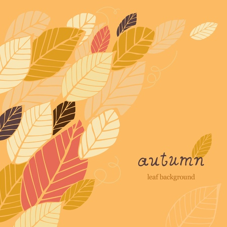 Autumn orange background with hand-drawn leafs and text