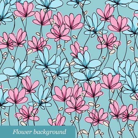 Floral pattern with blue and pink flowers Stock Vector - 12470081