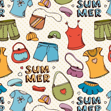 summer clothes: Seamless vector pattern with summer shopping accessories