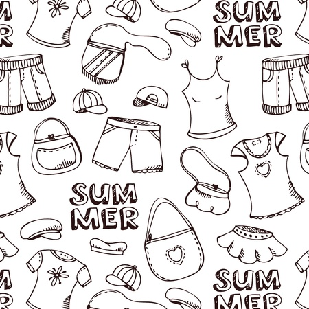 designer clothes: Summer beach clothes pattern  isolated on white Illustration