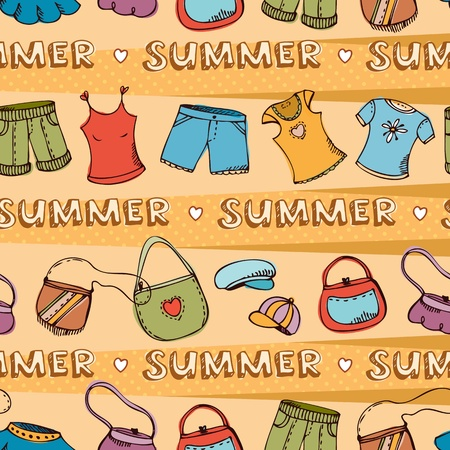 designer bag: Vector seamless pattern with summer beach clothing Illustration