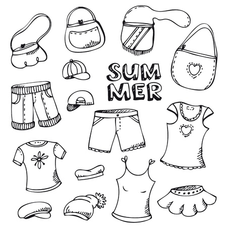 Summer beach fashion clothing set isolated on white Vector