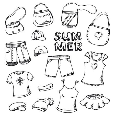designer bag: Verano de moda playa de conjunto aislado en blanco Vectores