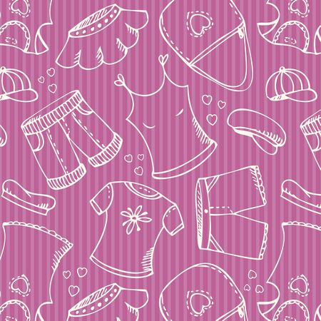 Background with fashion clothes collection in pink Illustration