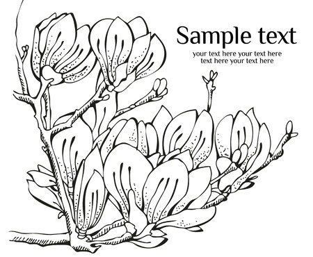 Card design with magnolia and frame text