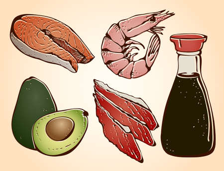 Sushi ingredients hand drawn set on a beige background Illustration