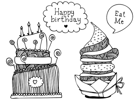 afternoon fancy cake: Illustration of sweet hand drawn cakes with frames