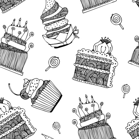afternoon fancy cake: Background with hand drawn sweets and cupcakes