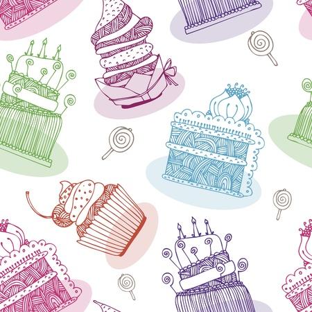 tortas de cumplea�os: Vector patr�n con tortas de cumplea�os y las magdalenas Vectores