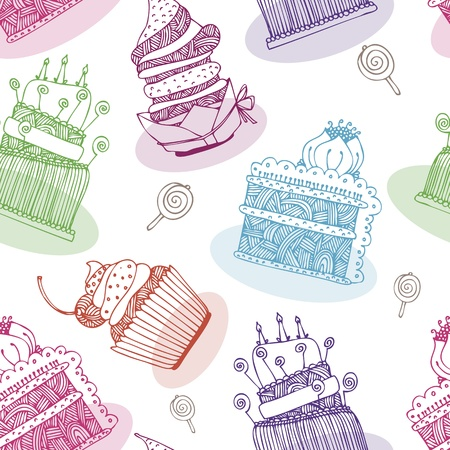 pink cake: Vector pattern with birthday cakes and cupcakes Illustration