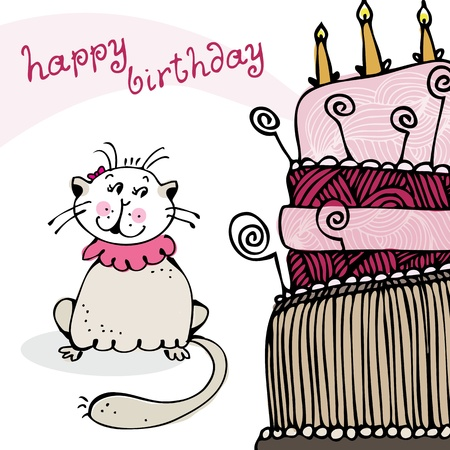 Birthday card with happy cat and cake Vector