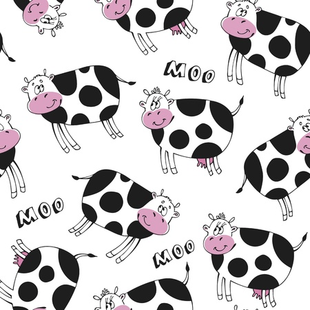 Seamless pattern with happy cute cow