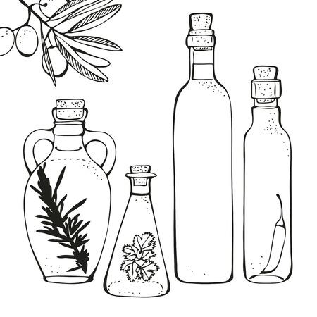 botella de aceite de oliva: Botellas de vidrio de aceite de oliva aislado en un fondo blanco Vectores