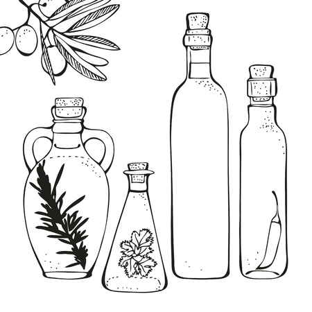 mediterranean diet: Olive oil glass bottles isolated on a white background Illustration
