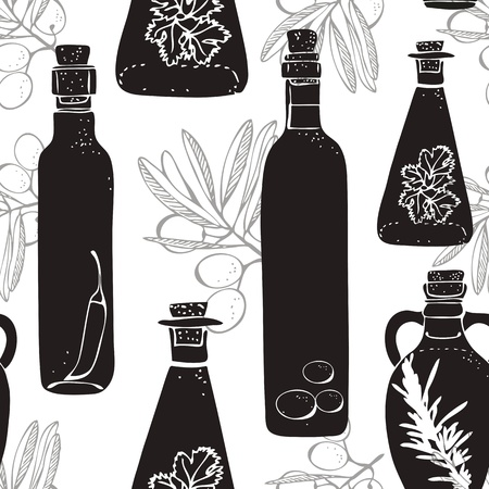 Olive oil pattern with glass bottles and olive branch Vector