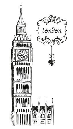 houses of parliament london: Illustration of Big Ben London isolated on a white background Illustration