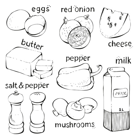 Food omelette ingredients isolated on a white background Illustration