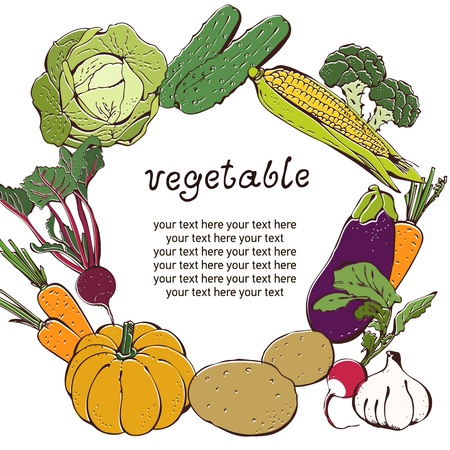 Vegetable background with text frame Vector