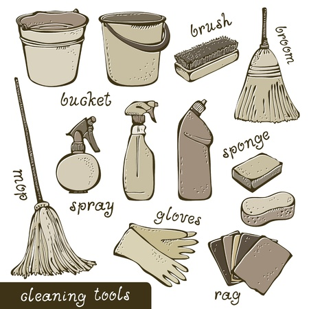 housekeeping: Cleaning tools collection Illustration