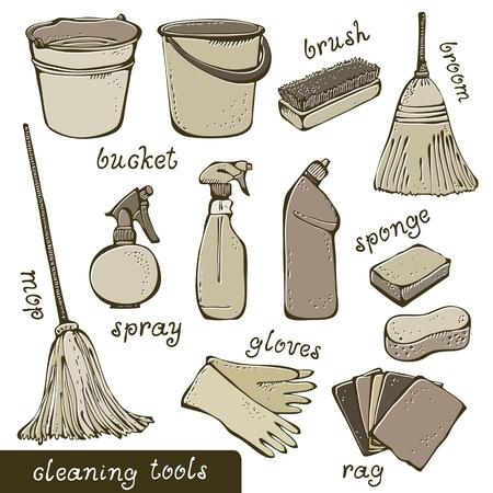 pulverizador: Limpieza de las herramientas de recolección de Vectores
