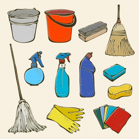housekeeping: Cleaning tool set Illustration