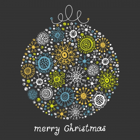 Vintage card with Christmas Ball Vector