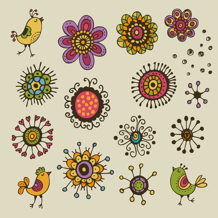 Floral elements design  Cartoon set with flowers and birds Vector
