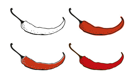 organic peppers sign: Chili pepper drawing