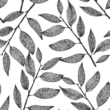 Seamless background with hand drawn leaves Illustration