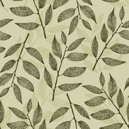 Leaves pattern, vector seamless leafs background Illustration