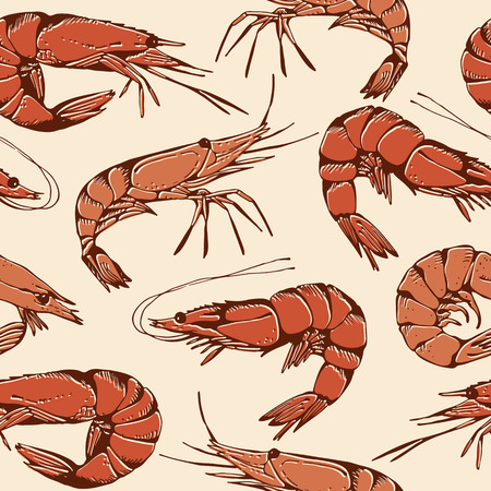 krill: Shrimp hand drawn pattern, seamless seafood background Illustration
