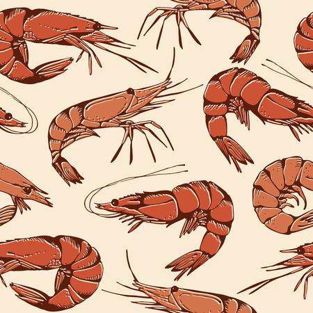 krill: Shrimp hand drawn pattern, seamless seafood background Illustration