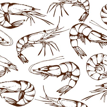 Nahtlose Fisch Muster mit Hand gezeichneten Garnelen, Vektor-Hintergrund Standard-Bild - 47112826