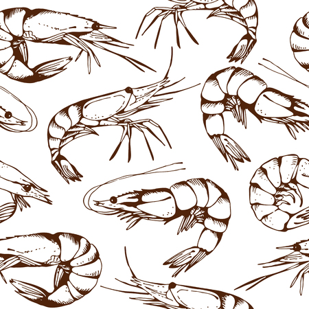 Seamless seafood pattern with hand drawn shrimps, vector background
