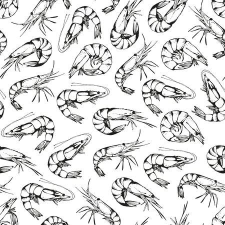 Seamless background, hand drawn shrimps pattern isolated on a white