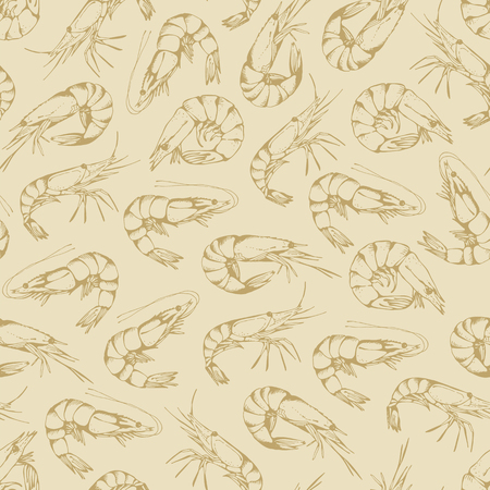 krill: Seamless pattern with hand drawn shrimps on a beige background, seafood wallpaper
