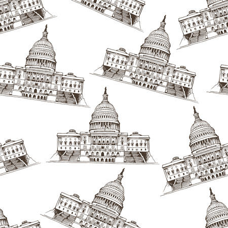 dc: Seamless pattern with Capitol Building, Washington, DC in USA, vector illustration