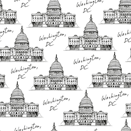 United States Capitol Building (Capitol Hill) seamless pattern, vector landmark background with text Illustration