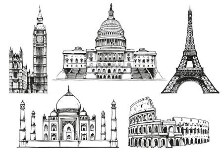 United States Capitol Building, Eiffel Tower, Big Ben (Elizabeth Tower), Eiffel Tower, Taj Mahal, Coliseum, world landmark vector set