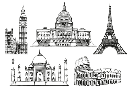 elizabeth tower: United States Capitol Building, Eiffel Tower, Big Ben (Elizabeth Tower), Eiffel Tower, Taj Mahal, Coliseum, world landmark vector set