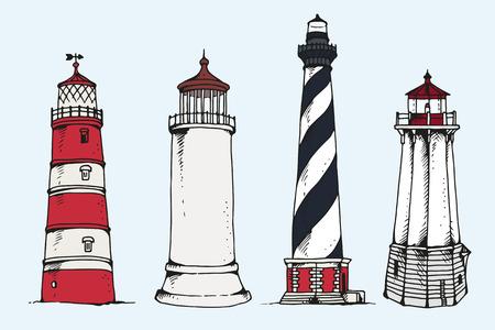 Ligthhouses vector collection on blue sky background, hand drawn illustration Illustration