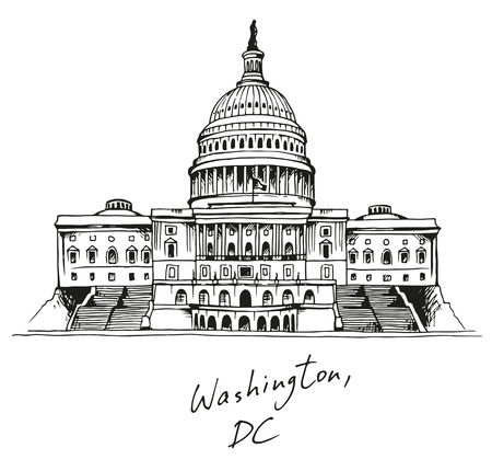 capitol hill: United States Capitol Building in Washington, DC, vector illustration with text Illustration
