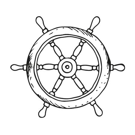 Ship wheel illustration, vector isolated on white background Illustration