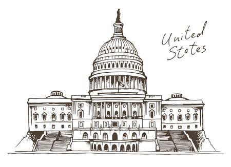 United States Capitol Building vector illustration, Washington, DC landmark