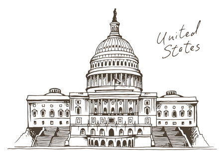 United States Capitol Building vector illustration, Washington, DC landmark