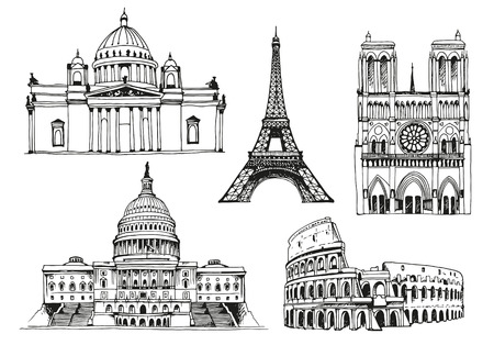 United States Capitol Building, Eiffel Tower, Notre Dame de Paris Cathedral, Saint Isaacs Cathedral, Coliseum, world landmark vector set