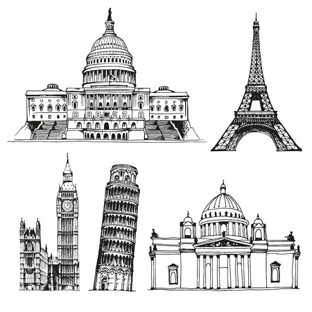 elizabeth tower: United States Capitol Building, Saint Isaacs Cathedral, Eiffel Tower, Big Ben (Elizabeth Tower), Tower of Pisa, world landmark vector set